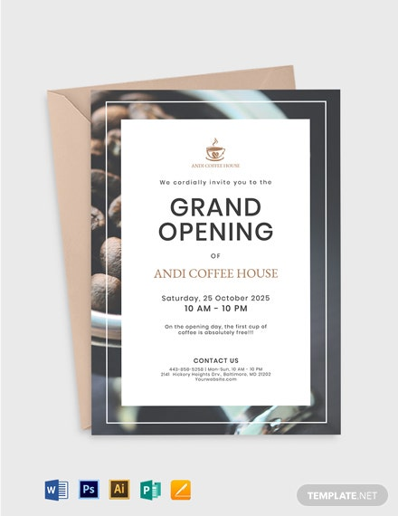 Coffee House Opening Invitation Template