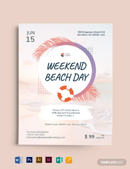 Beach Day Flyer Template