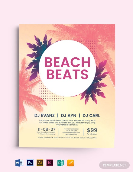 beach party flyer template 1