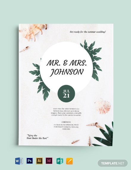 Beach Wedding Flyer Template
