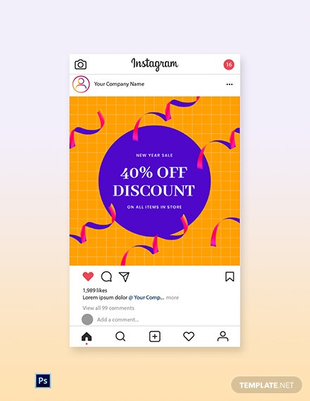 Free Holiday Discount Sale Instagram Post Template