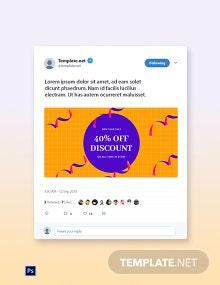Free Holiday Discount Sale Twitter Post Template