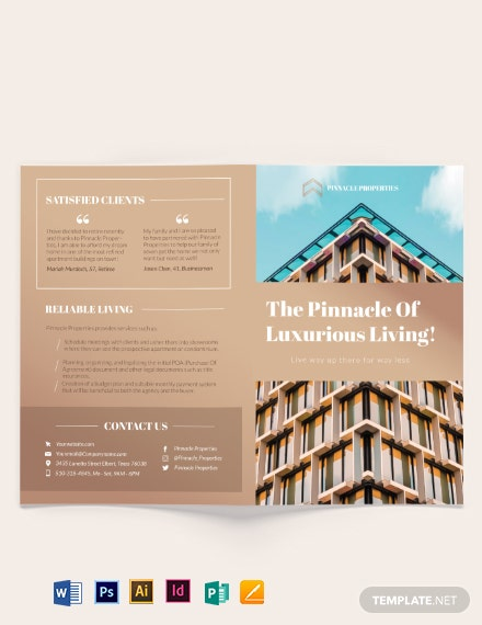 luxury apartment condo bi fold brochure 1