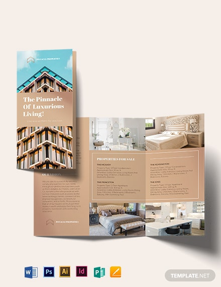 luxury apartment condo tri fold brochure