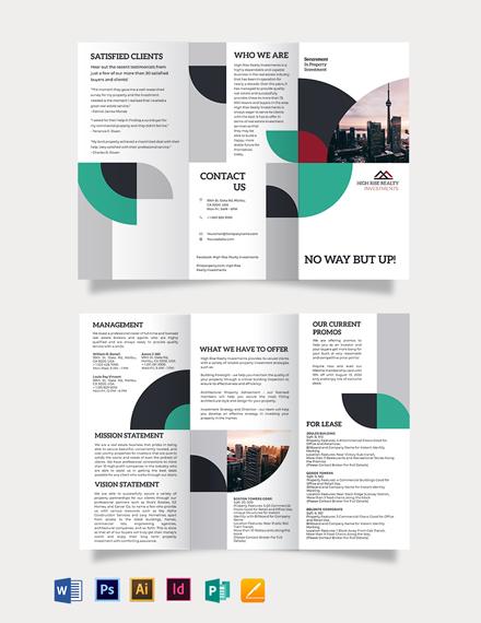 Commercial Real Estate Investor Tri-Fold Brochure Template