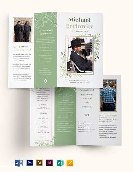 Jewish Funeral Memorial Bi-fold Brochure Template