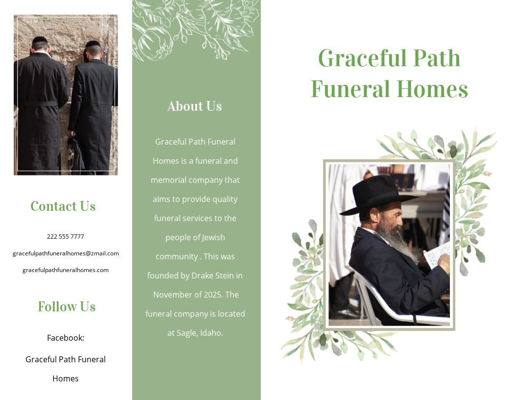 Jewish Funeral Memorial Bi fold Brochure Template.jpe