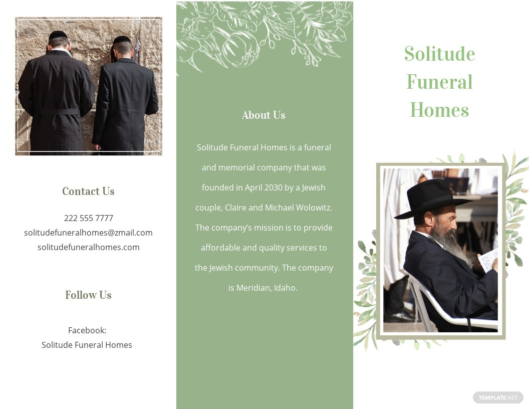 Jewish Funeral Memorial Tri fold Brochure Template.jpe