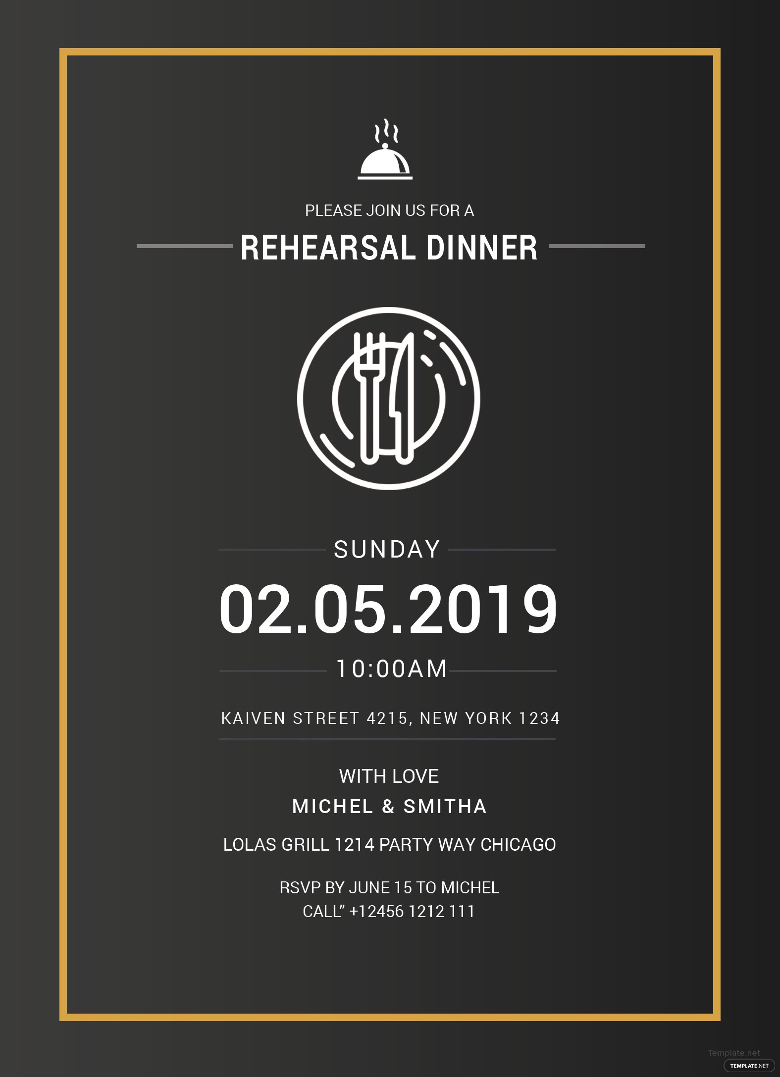 free rehearsal dinner party invitation template in adobe