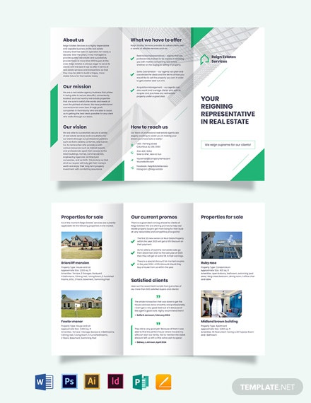 Real Estate Agent/Agency Marketing Tri-Fold Brochure Template