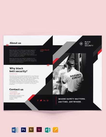 Security Guard Agency Bi-Fold Brochure Template