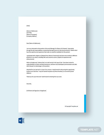 Free Account Manager Cover Letter