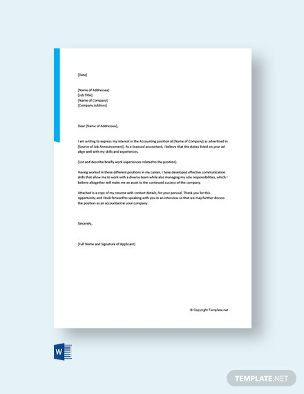 Free Accountant Cover Letter