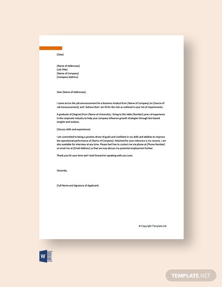 Free Business Analyst Cover Letter