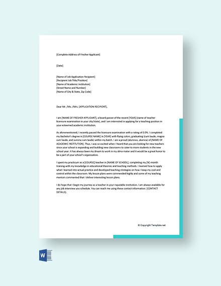 Free Cover Letter For Teaching Job Fresher