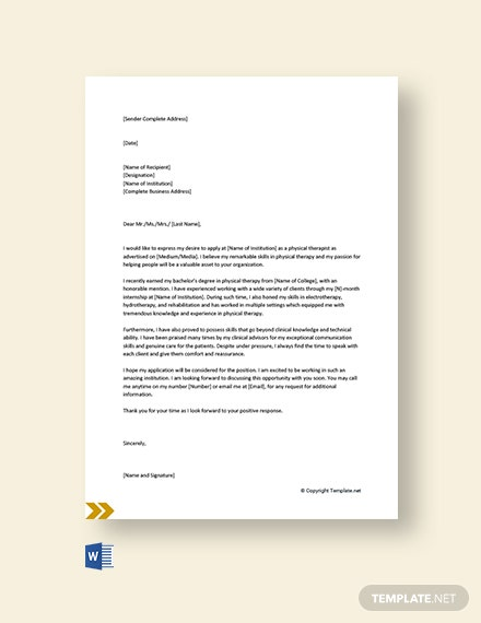 Free Entry Level Physical Therapist Cover Letter Template
