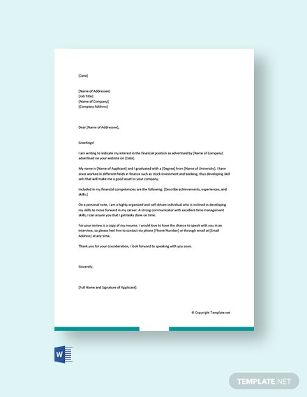 Free Finance Cover Letter