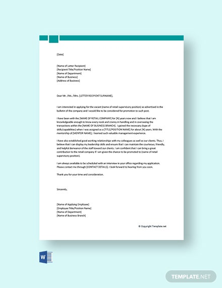 Free Job Promotion Cover Letter for a Retail Job