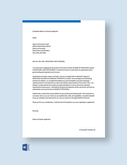 Free Preschool Teacher Cover Letter
