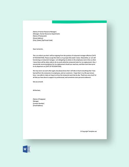 Free Restaurant Manager Resignation Letter