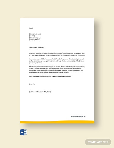 Free Security Guard Cover Letter