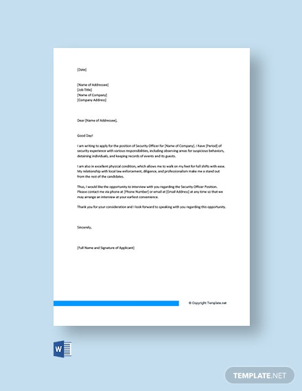 Free Security Officer Cover Letter