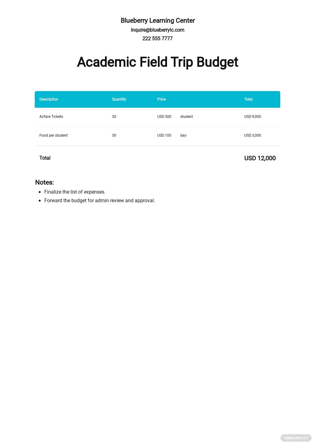 Academic Budget Template