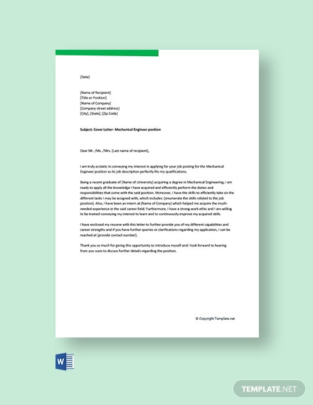 free cover letter for mechanical engineer fresher template