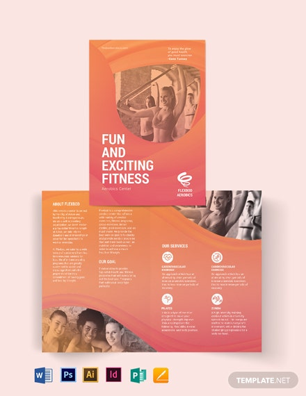 Aerobics Center Bi-Fold Brochure Template