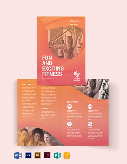 Aerobics Center Bi-Fold Brochure Template