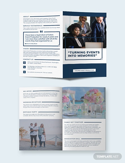 event planning business bi fold brochure