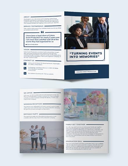 Event Planning Business Bi-Fold Brochure Template