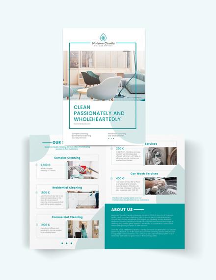 Cleaning Service Company Bi-Fold Brochure Template