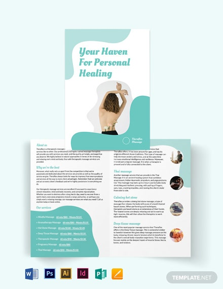 simple massage therapy bi fold brochure