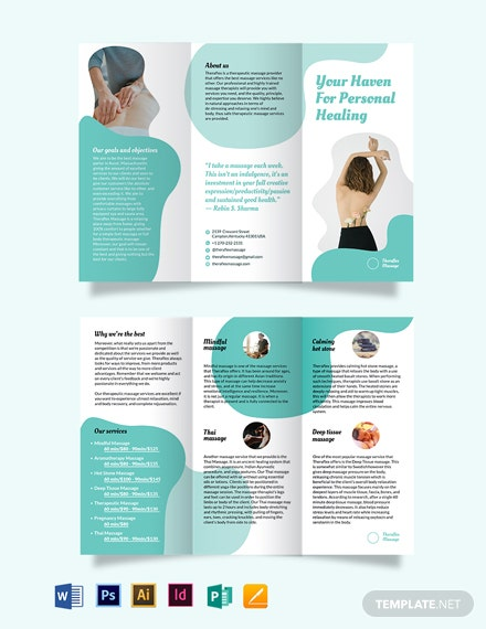 simple massage therapy tri fold brochure