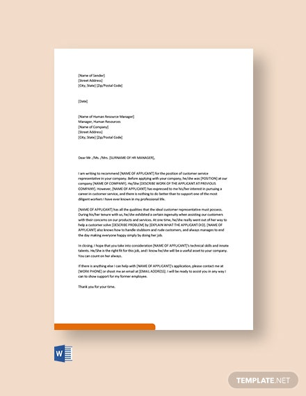Free Customer Service Recommendation Letter