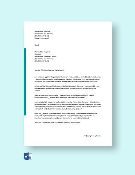 Free Elementary Teacher Cover Letter