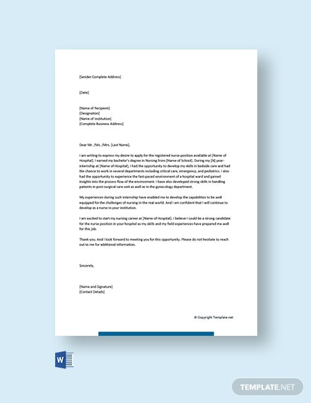 Entry Level Nursing Cover Letter Template [Free PDF] - Word