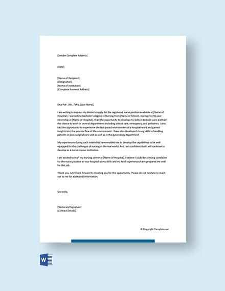 Free Entry Level Nursing Cover Letter