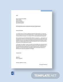 Free Financial Analyst Cover Letter