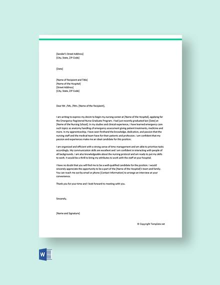 Free Graduate Nurse Cover Letter