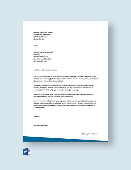 Free Nursing Student Cover Letter