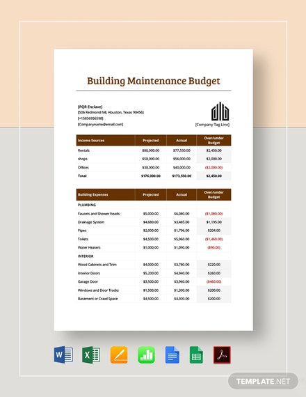 building maintenance budget template