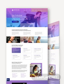 Fitness Trainer Coach PSD Landing Page Template
