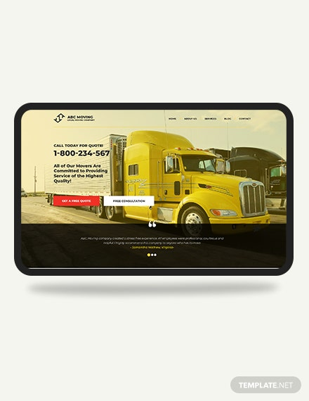 Moving Company PSD Landing page Download