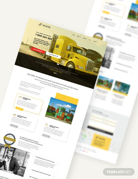 Sample Moving Company PSD Landing page