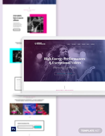 Music Band PSD Landing Page Template
