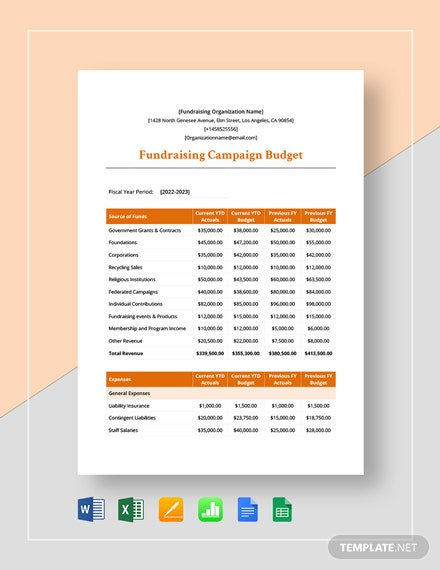 Fundraising Campaign Budget Template
