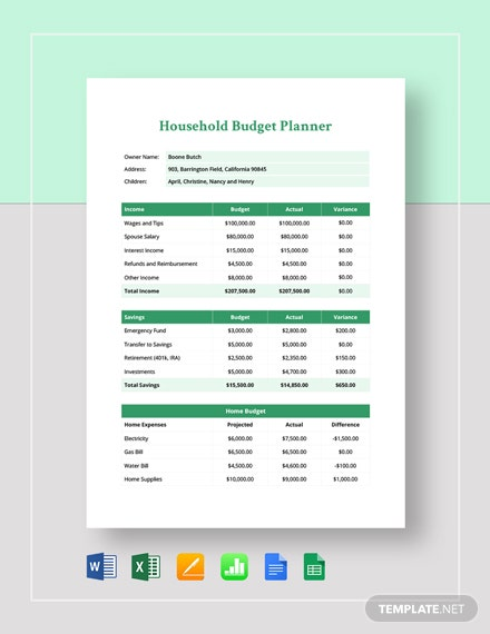 Household Budget Planner Template