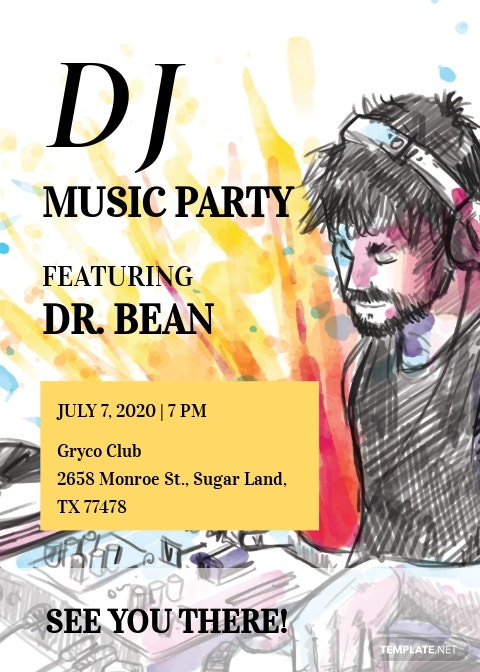 DJ Music Party Invitation Template
